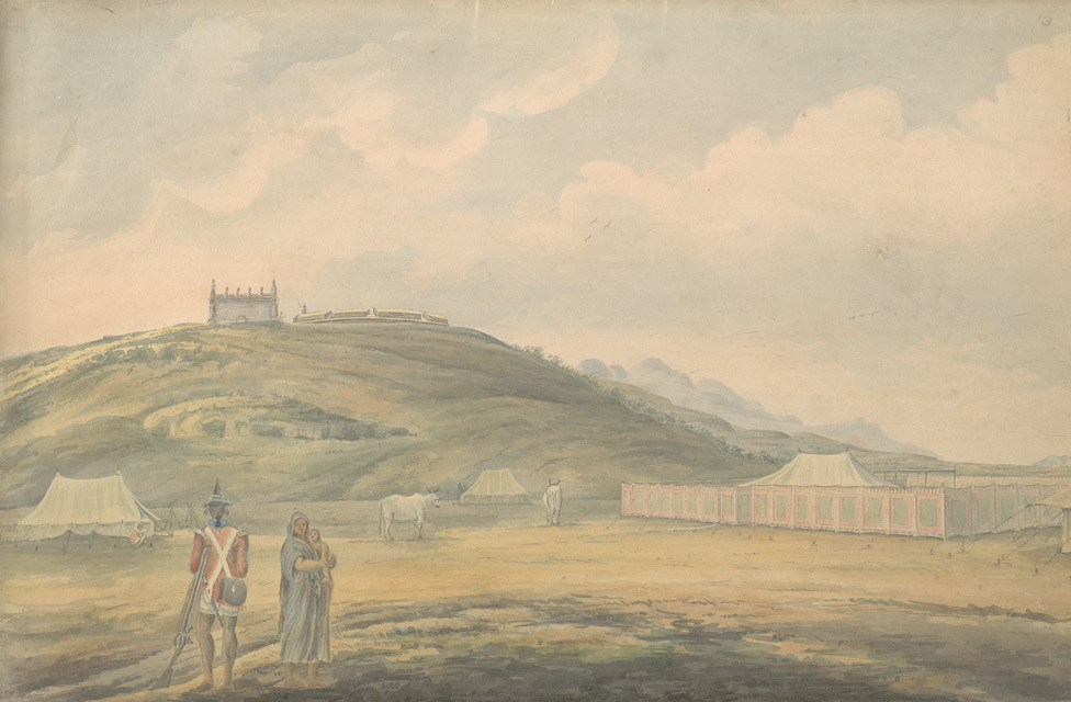f.13   Military encampment at the foot of a fortified hill.  Infantry sepoy in foreground.